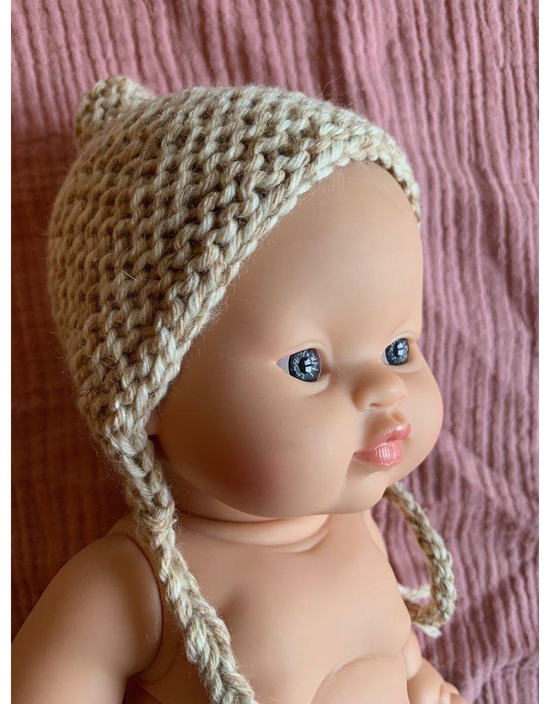 Mamabel Mamabel : Poppen Bonnet kleur beige gemêleerd.