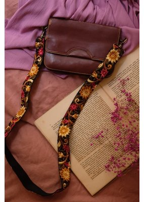 La N'Atelier La N'Atelier - Strap zwart met geel/roze bloem