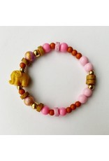 By Melo By Melo - Armband Ollie roze/geel