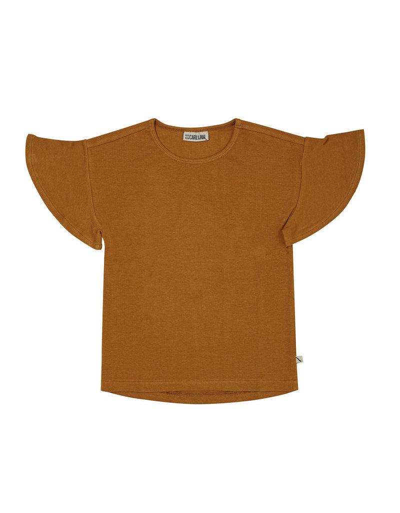 Carlijn Q Carlijn Q : Basics Chipmunk - T-shirt ruffled short sleeve ribbed