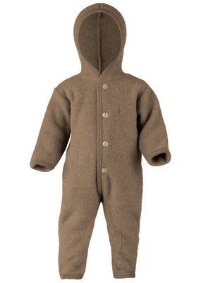 Engel Engel Natur:  Hooded overall with wooden buttons Walnut Melange