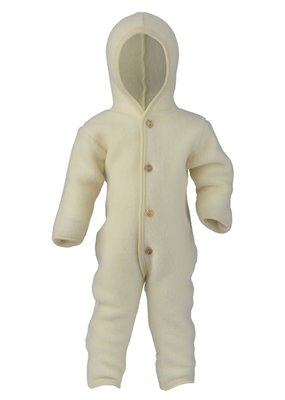Engel Engel Natur: Hooded overall with wooden buttons natural
