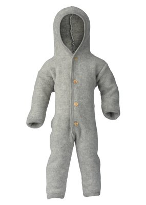 Engel Engel Natur: Hooded overall with wooden buttons light grey mélange