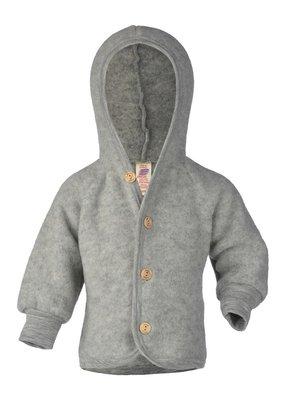 Engel Engel Natur:  Hooded Jacket with wooden buttons light grey mélange