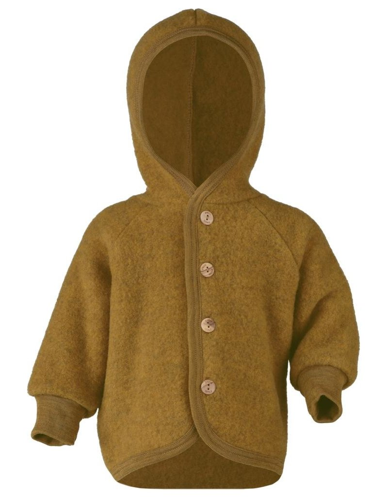 Engel Engel Natur : Hooded Jacket with wooden buttons saffron Mélange