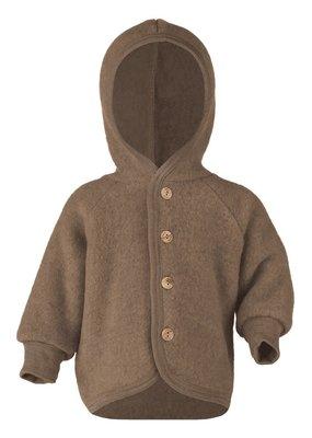 Engel Engel Natur : Hooded Jacket with wooden buttons walnut mélange