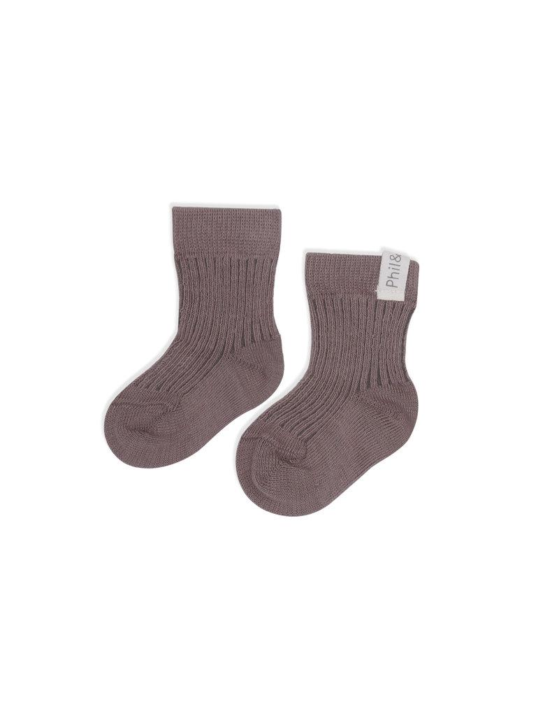 Phil & Phae Phil & Phae : ribbed baby socks - heather