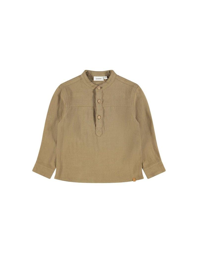 Lil ' Atelier Lil ' Atelier : Boxy shirt top - Ermine ( bruin)