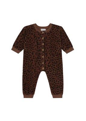 Daily Brat Daily Brat : Leopard towel bodysuit hickory brown
