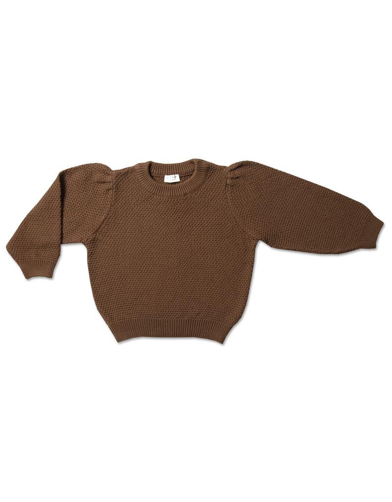 Petit Blush Petit Blush : Knit jumper ballon sleeve - Chocolat
