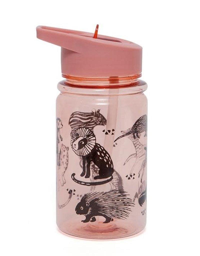 Petit Monkey : Drinkfles Black animals - Roze