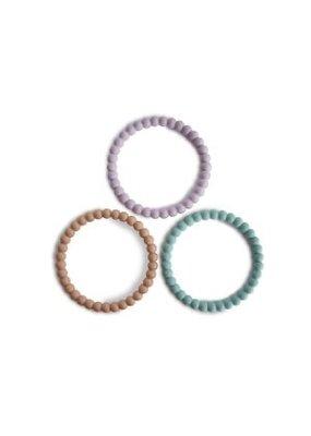Mushie Mushie - Silicone bracelet 3 pack Lila/cyan/soft peach