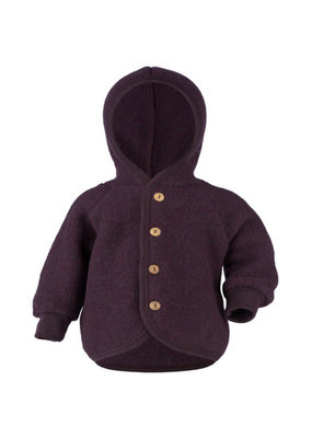 Engel Engel Natur : Hooded Jacket with wooden buttons purple melange