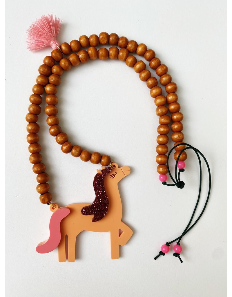 By Melo By Melo - Ketting paard hout glitter