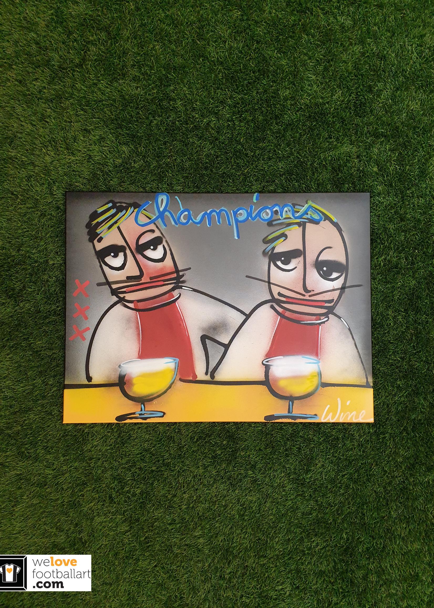 """Wine Art Origineel Wine Art Ajax Amsterdam """"Champions"""" schilderij 1/1"""