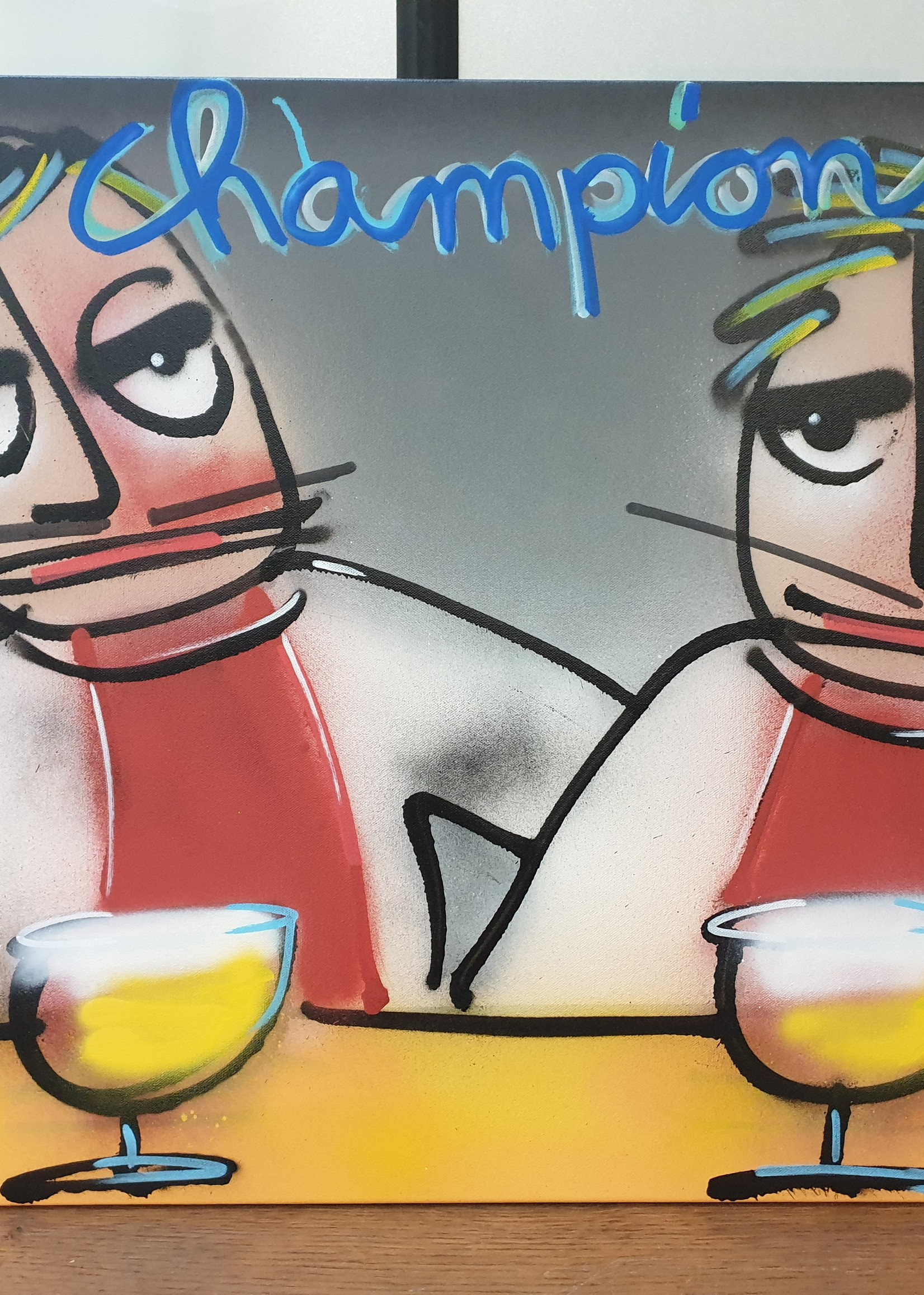 "Wine Art Original Wine Art Ajax Amsterdam ""Champions"" painting 1/1"
