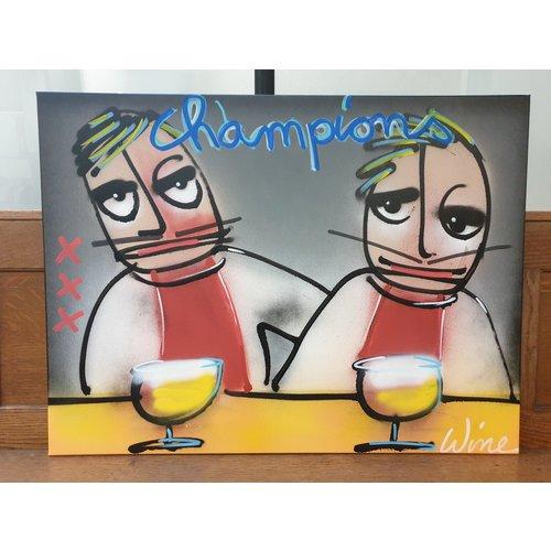 "Wine Art Original Weinkunst Ajax Amsterdam ""Champions"" Gemälde 1/1"