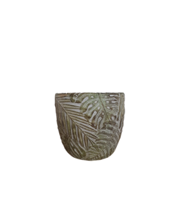 Pot with a leaf pattern