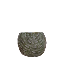 Oval pot with a leaf pattern