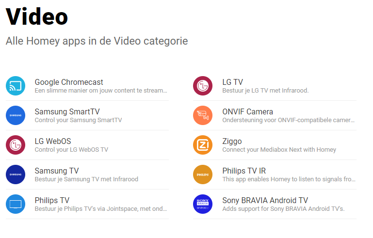 Homey - Video Apps