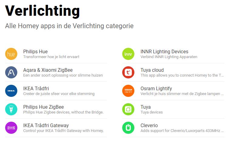Homey - Verlichting Apps