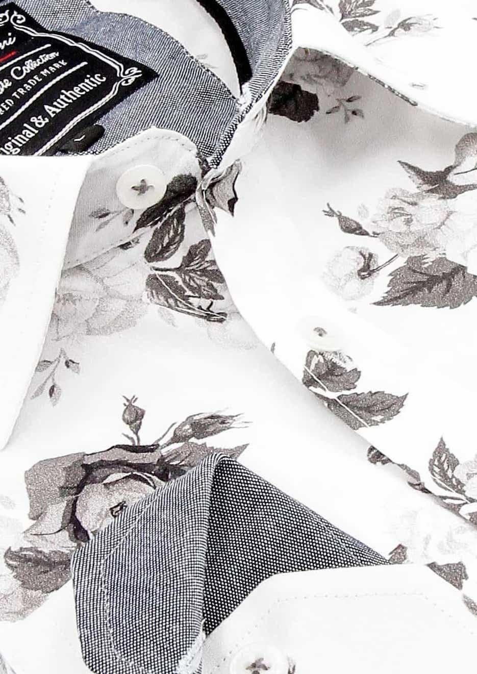Heren Overhemd - Floral Design - Wit-2