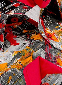 Heren Overhemd - Painted Artwork Satin - Grijs-2
