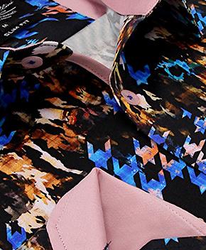 Heren Overhemd - Arafat Shawl Motive Satin - Zwart-2