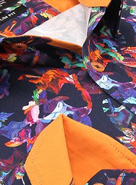Heren Overhemd - Flower Artwork  Satin - Blauw-2