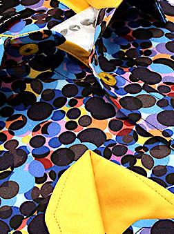 Heren Overhemd - Colored Circles Satin - Blauw-2