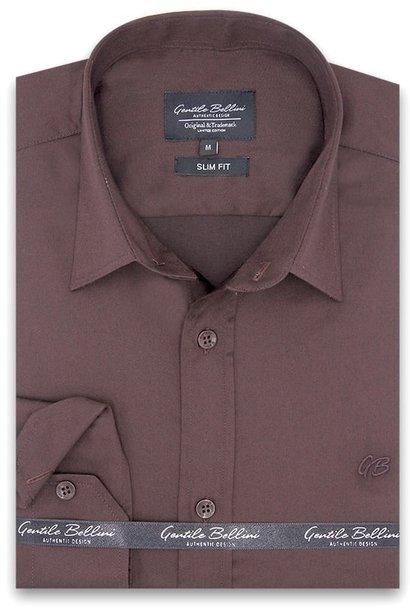 Heren Overhemd - Luxury Plain Satin - Bruin