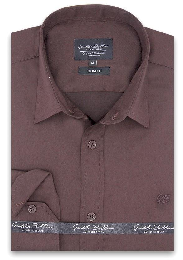 Heren Overhemd - Luxury Plain Satin - Bruin-1