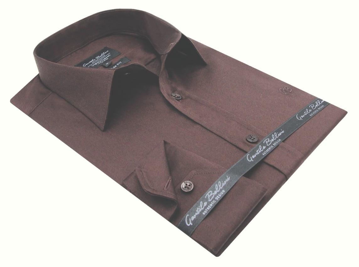 Heren Overhemd - Luxury Plain Satin - Bruin-3