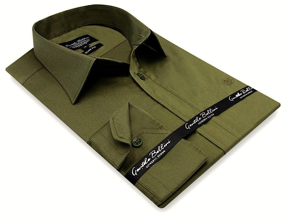 Heren Overhemd - Luxury Plain Satin - Groen-3