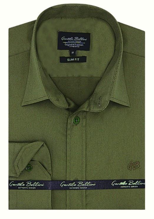 Heren Overhemd - Luxury Plain Satin - Groen-1