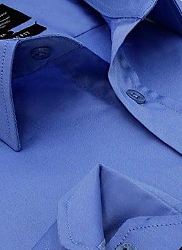 Heren Overhemd - Luxury Plain Satin - Blauw-2