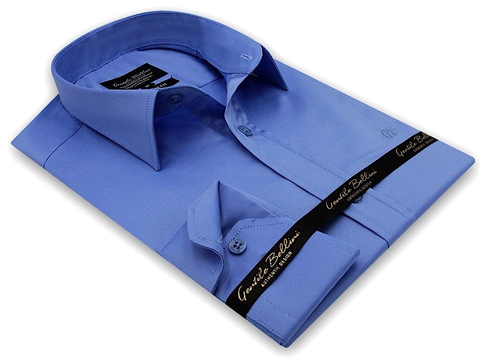 Heren Overhemd - Luxury Plain Satin - Blauw-3
