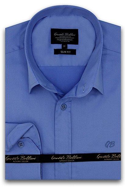 Heren Overhemd - Luxury Plain Satin - Blauw