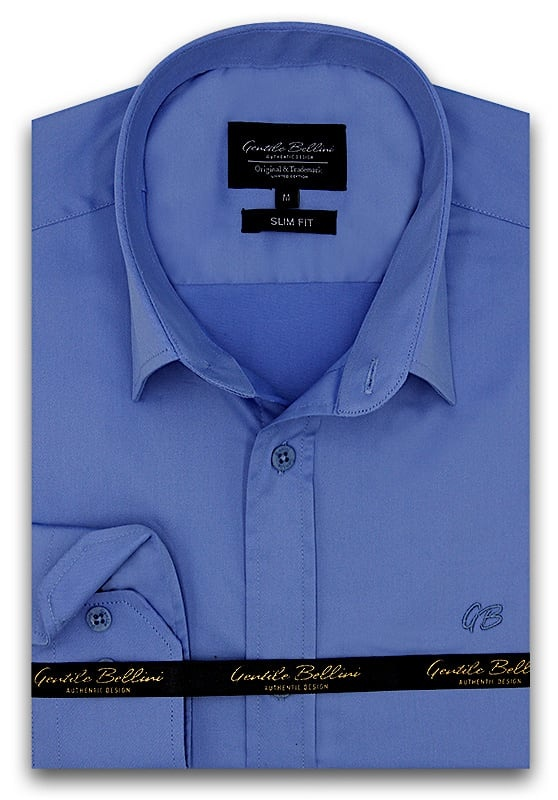 Heren Overhemd - Luxury Plain Satin - Blauw-1