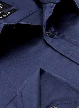 Heren Overhemd - Luxury Plain Satin - Navy-2