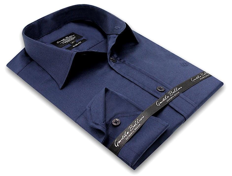 Heren Overhemd - Luxury Plain Satin - Navy-3
