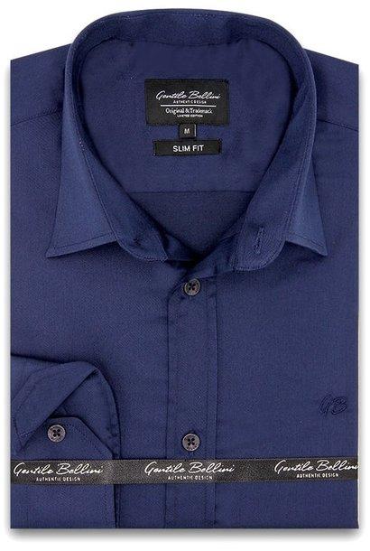 Heren Overhemd - Luxury Plain Satin - Navy