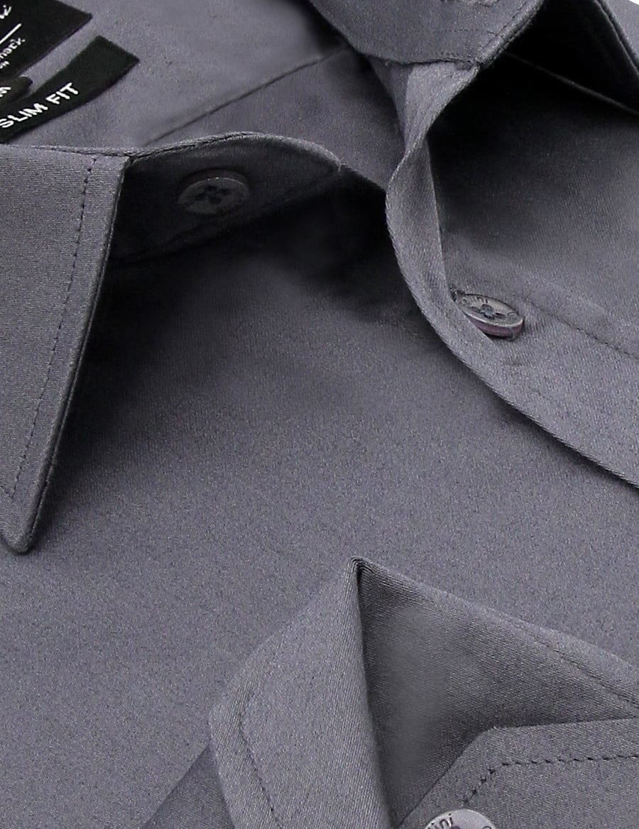 Heren Overhemd - Luxury Plain Satin - Grijs-2
