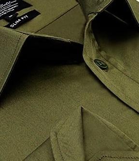 Heren Overhemd - Luxury Plain Satin - Groen-2