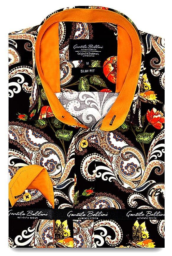 Heren Overhemd - Luxury Paisley Satin - Bruin-1