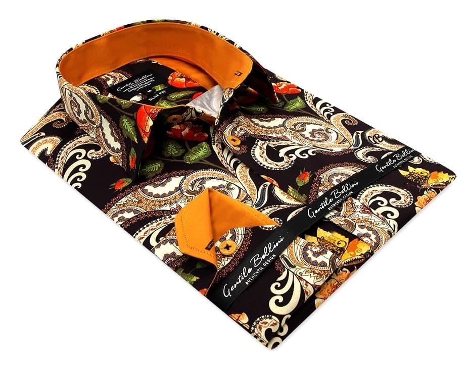 Heren Overhemd - Luxury Paisley Satin - Bruin-3