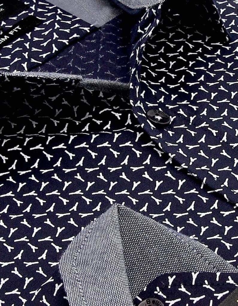Heren Overhemd - Broken Branches - Blauw-2