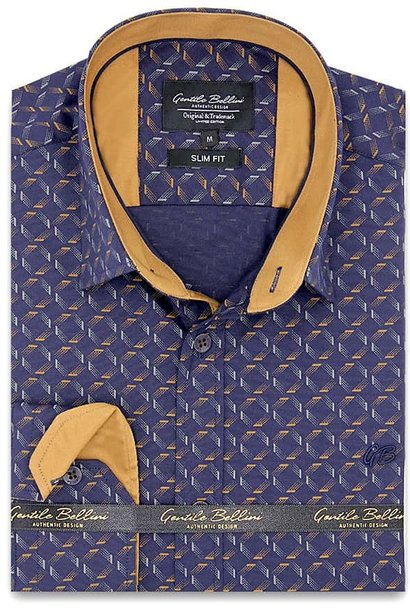 Heren Overhemd - Dotted Shapes - Blauw