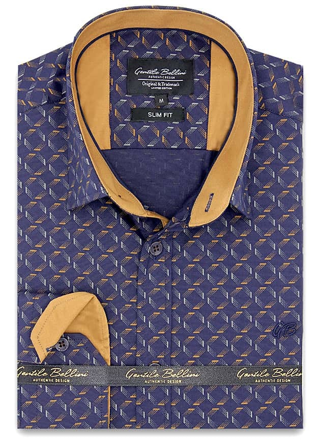 Heren Overhemd - Dotted Shapes - Blauw-1