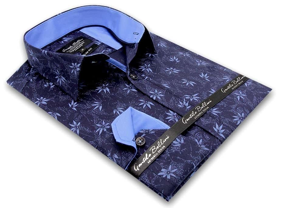 Heren Overhemd - Autumn Leaf - Blauw-3